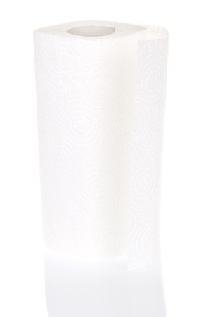 A roll of paper towels isolated on white background. photo