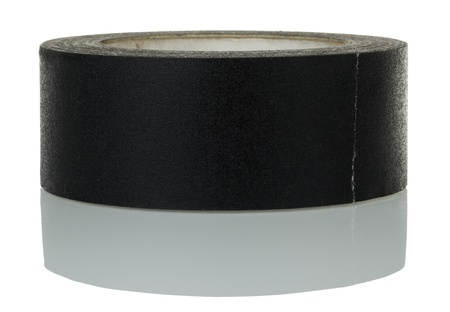 gaffer: Black gaffer tape and its reflection, isolated on white background. Clipping path included. Stock Photo