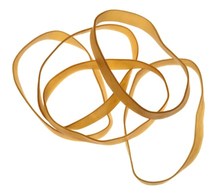 A group of five rubber bands isolated on white background.