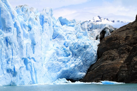 A cliff made of a mixture of glacier and rock mountain. Shot in Patagonia, South America. Stock Photo