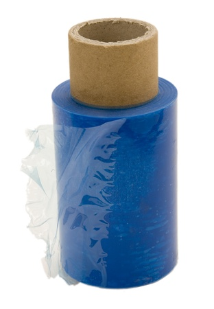 plastic art: A half used roll of blue transparent nylon wrap, isolated on white background.