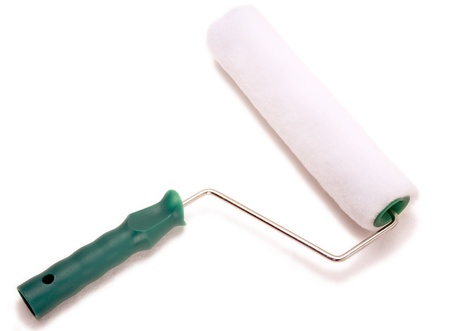 paintroller: A paint roller with a green handle isolated on white background.