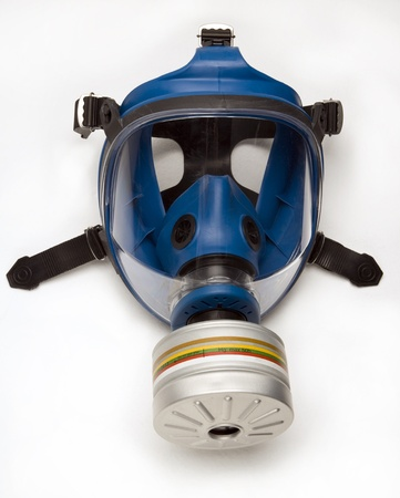 A blue gas mask isolated on white background.