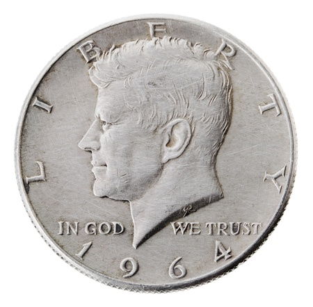 in god we trust: Frontal view of the obverse (heads) side of a silver half Dollar minted in 1964. Stock Photo