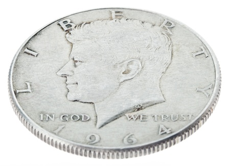 minted: High angle view of the obverse (heads) side of a silver half Dollar minted in 1964. Stock Photo