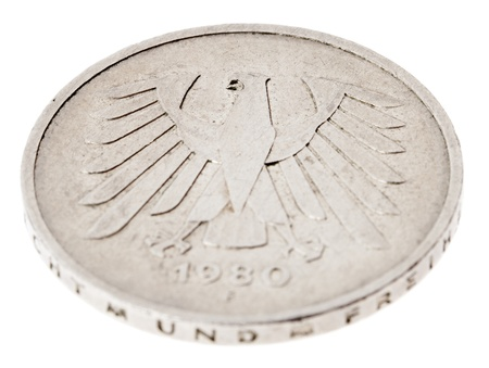 High angle view of the reverse (tails) side of a a 5 Deutsche Mark (DM) coin minted in 1980.  photo