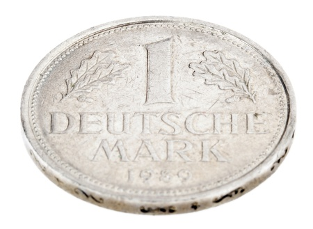 minted: High angle view of the obverse (heads) side of a a 1 Deutsche Mark (DM) coin minted in 1989.