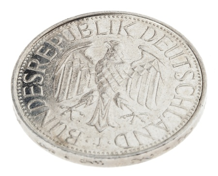 minted: High angle view of the reverse (tails) side of a a 1 Deutsche Mark (DM) coin minted in 1989.