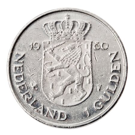 minted: Frontal view of the reverse (tails) side of a a Dutch 1 Gulden (fl) coin minted in 1980.