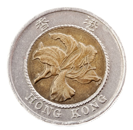 minted: Frontal view of the obverse (heads) side of a 10 Hong Kong Dollar coin minted in 1995. Depicted is the Bauhinia flower. Isolated on white background.
