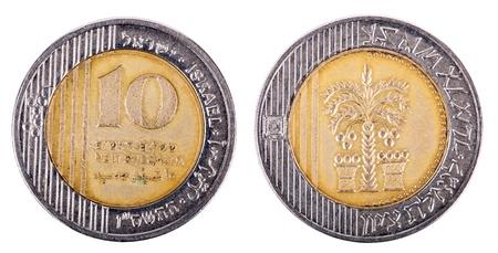 singular: Two sides of an Israeli 10 Shekels (Singular: Shekel) coin.  Stock Photo