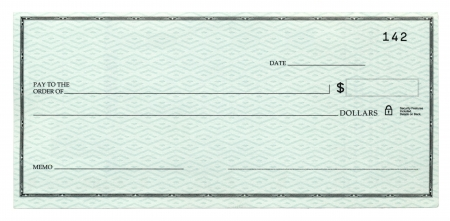 blank check: A blank banking cheque, Isolated on white.