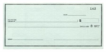 cheque en blanco: Un cheque en blanco banca, aislado en blanco.