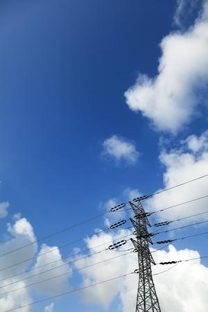 long shot: Lungo tiro di un pilone di energia elettrica ad alta tensione e linee elettriche, sullo sfondo del blu e bianco cielo nuvoloso.