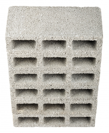 masonary: High angle view of six gray concrete construction blocks (a.k.a. cinder block, breeze block, cement block, foundation block, besser block; professional term: Concrete Masonary Unit - CMU) in a straight stack, isolated on white background.