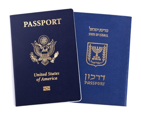 israel passport: USA and Israeli passports isolated on white background.