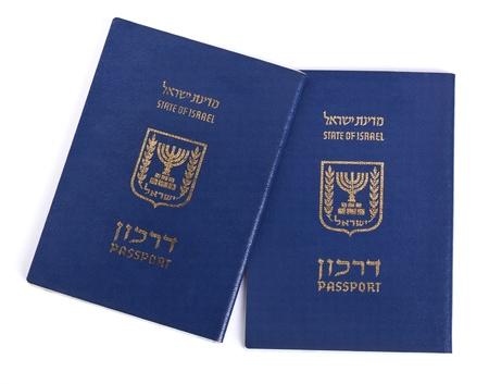 Two Israeli passports isolated on white background. photo
