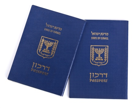 israel passport: Two Israeli passports isolated on white background.