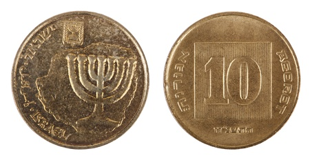 Two sides of an Israeli 10 Agorot (Singular: Agora - the equivalent of cent) coin. The obverse depicts a replica of a coin issued by Mattathias Antigonus (37 – 40 B.C.E.) with the seven-branched candelabrum, the state emblem, 'Israel' in Hebrew, Arabic  photo