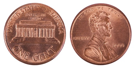Two sides of a USA 1 cent (penny) coin.  This is the version of the penny that was produced between the years 1959-2008, depicting the Lincoln memorial. Isolated on white background. Stock Photo
