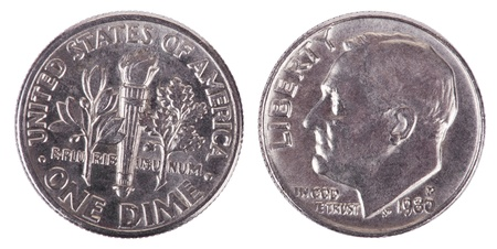 Two sides of a USA 10 cents (Dime) coin. The obverse depicts presidents Franklin D. Roosevelt profile portrait Stock Photo
