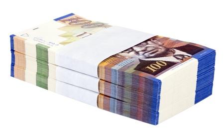 A stack of 100 NIS (New Israeli Shekel) money notes, isolated on white background. Stock Photo - 18929311