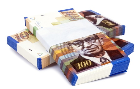 Three stacks of 100 NIS (New Israeli Shekel) money notes on top of eachother, isolated on white background.