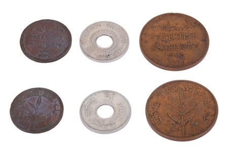 Both sides of three vintage coins from pre-Israel Palestine (1930's), called