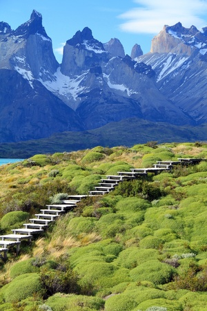 Wooden steps for hikers exploring the wilderness of Patagonia, South America. Stock Photo - 18929355
