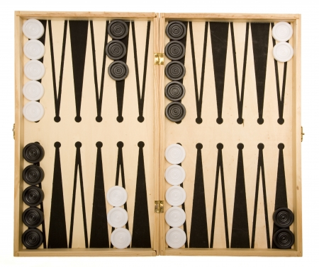 Backgammon set, ready for play. Isolated on white background.