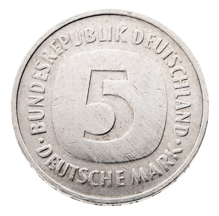 german mark: Frontal view of the obverse (heads) side of a a 5 Deutsche Mark (DM) coin minted in 1980.
