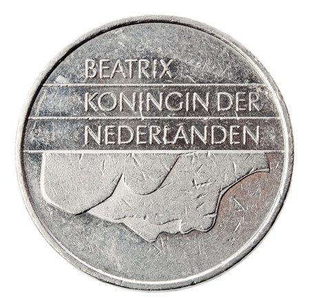 gulden: Frontal view of the obverse (heads) side of a a Dutch 1 Gulden (fl) coin minted in 1988. Depicted is the profile portrait of queen Beatrix. The Gulden was replaced in Germany by the Euro at 2002 (a process which began in 1999). Isolated on white backgroun