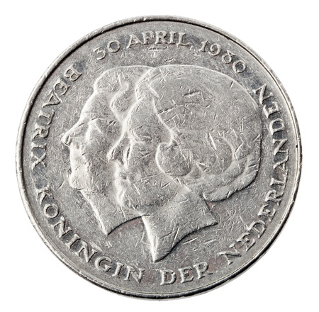 Frontal view of the obverse (heads) side of a a Dutch 1 Gulden (fl) coin minted in 1980.