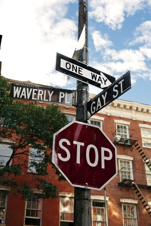 Low angle view of a street signi n the intersection of Waverly Place and Gay Street in the West Village, Manhattan, New-York photo