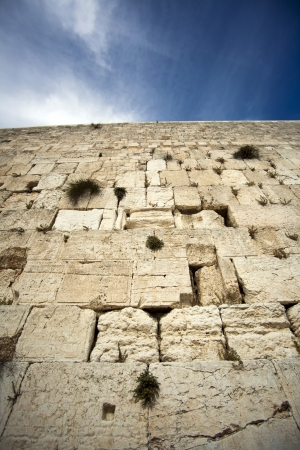 Z bliska spojrzeć na jeden z najbardziej Å›wiÄ™tych miejsc dla narodu żydowskiego - Åšciana PÅ'aczu w starej części Jerozolimy, w Izraelu. Zdjęcie Seryjne
