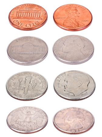 Both sides of USA coins, shot from a slightly high angle and isolated on white background. Values: 1 Cent (Penny); 5 Cents (Nickel); 10 Cents (Dime); 25 Cents (Quarter). photo