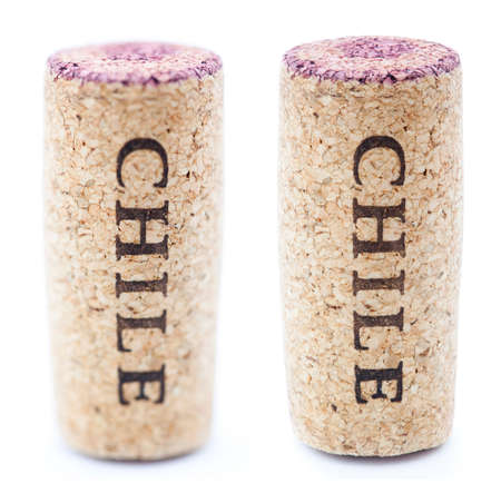 A red wine stained wine cork with Chile written on it, isolated on white background, in vertical position with the writing pointing downwards. Two types of depth of field - shallow and deep. photo