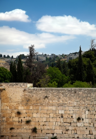 A view of the Wailing Wall in the old city of Jerusalem and the trees &buildings (and one church) behind it. photo