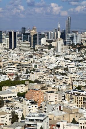 neighbouring: A view to the east, depicting the cityscape of downtown Tel-Aviv and its neighbouring city Ramat-Gan. This is the central skyscraper area in the biggest metropolis in Israel.