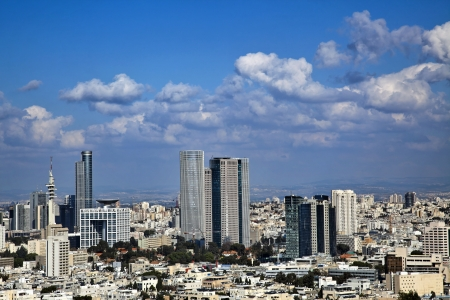 A view to the east, depicting the cityscape of downtown Tel-Aviv and its neighbouring city Ramat-Gan. This is the central skyscraper area in the biggest metropolis in Israel.