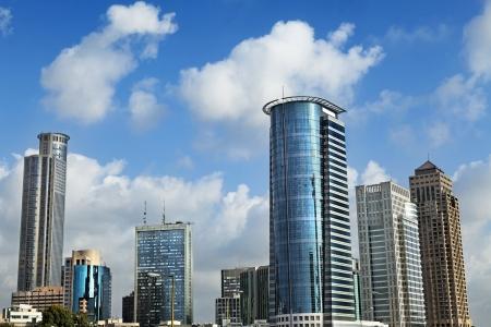 ramat aviv: Skyline of downtown Ramta-Gan (bordering Tel-Aviv), featuring the famous Israeli diamond center and the financial district surrounding it.