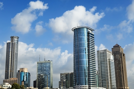 Skyline of downtown Ramta-Gan (bordering Tel-Aviv), featuring the famous Israeli diamond center and the financial district surrounding it.