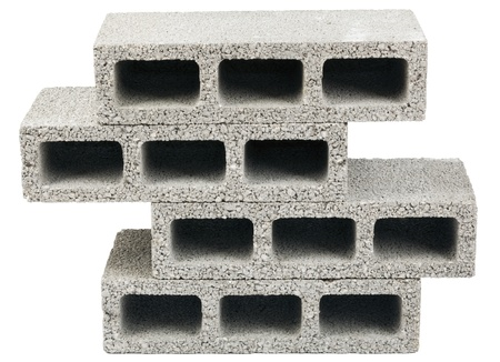 masonary: Three gray concrete construction blocks (a.k.a. cinder block, breeze block, cement block, foundation block, besser block; professional term: Concrete Masonary Unit - CMU) in a stack, isolated on white background.