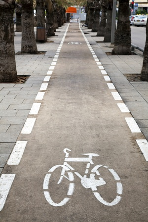bicycle lane: Bicycle lane in Nordau Avenue, Tel-Aviv, Israel. Stock Photo