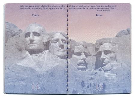 pasaportes: Tel-Aviv, Israel - 23 de diciembre 2010: P�ginas 14 y 15 del nuevo pasaporte de EE.UU., todav�a en blanco con la imagen bacgkround claramente visible.
