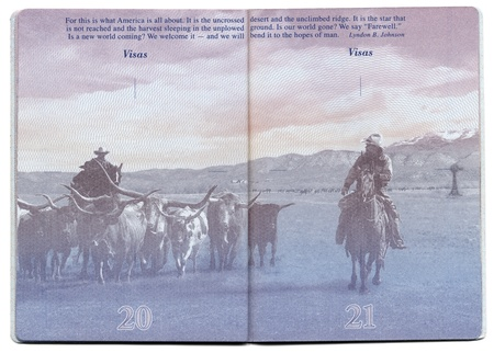 Pages 20 and 21 of the new USA passport, still blank with the bacgkround image clearly visible.