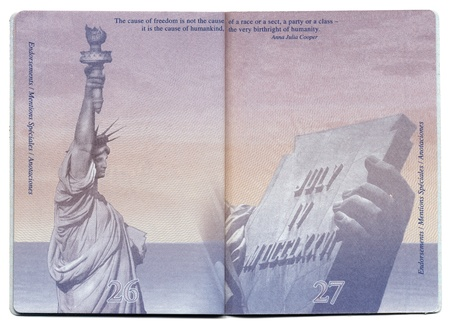 Tel-Aviv, Israel - December 23rd, 2010: Pages 26 and 27 of the new USA passport, still blank with the bacgkround image clearly visible.