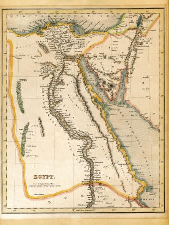An old 19th century map, engraved and printed in England in 1845, depicting Egypt (Jerusalem in the north down to the border with Nubia in the south. Editorial