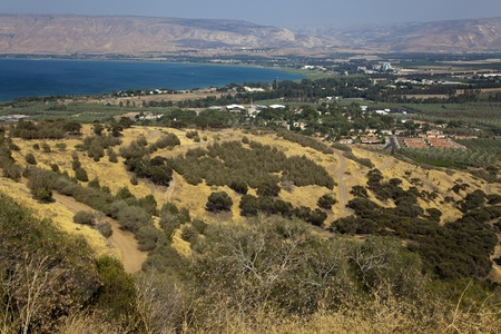 A view on the southern edge of Sea of Galilee (a.k.a Lake of Gennesaret, Lake Kinneret, Sea of Tiberias or Tiberias Lake).  photo