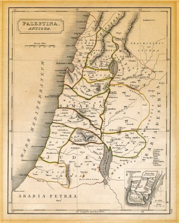 An old 19th century map, engraved and printed in England in 1845, depicting ancient Palestine ('Antiqua Palestina' as it's written on the map itself) at the times of Jesus Christ, from Damascus in the north down to the land south of the Dead Sea in the so